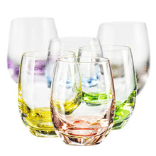 Bohemia Collection Rainbow Set of 6 Beverage Tumbler Multi Colored Glasses 10oz