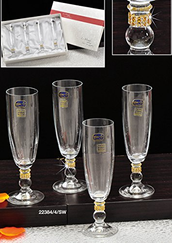 Le Monde Cadeaux, Swarovski Champagne Flutes on a Short Stem with Crystals, 4pc
