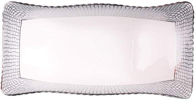 Royalty Porcelain White and Silver Serving Platter, Fruit Tray, Seafood Dish (A)