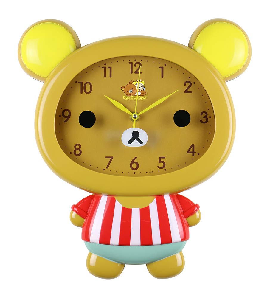 (D) Brown Teddy Bear 14x12 Wall Clock for Kids Room