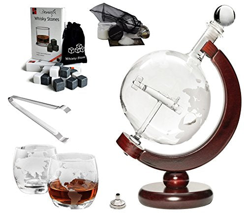 Large 50 Oz 'Plane' Handmade Whiskey Liquor Etched Globe Decanter Mega Set