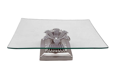 (D) Square Silver Glass Platter on Base with Swarovski Crystal 10x10x4 Inches