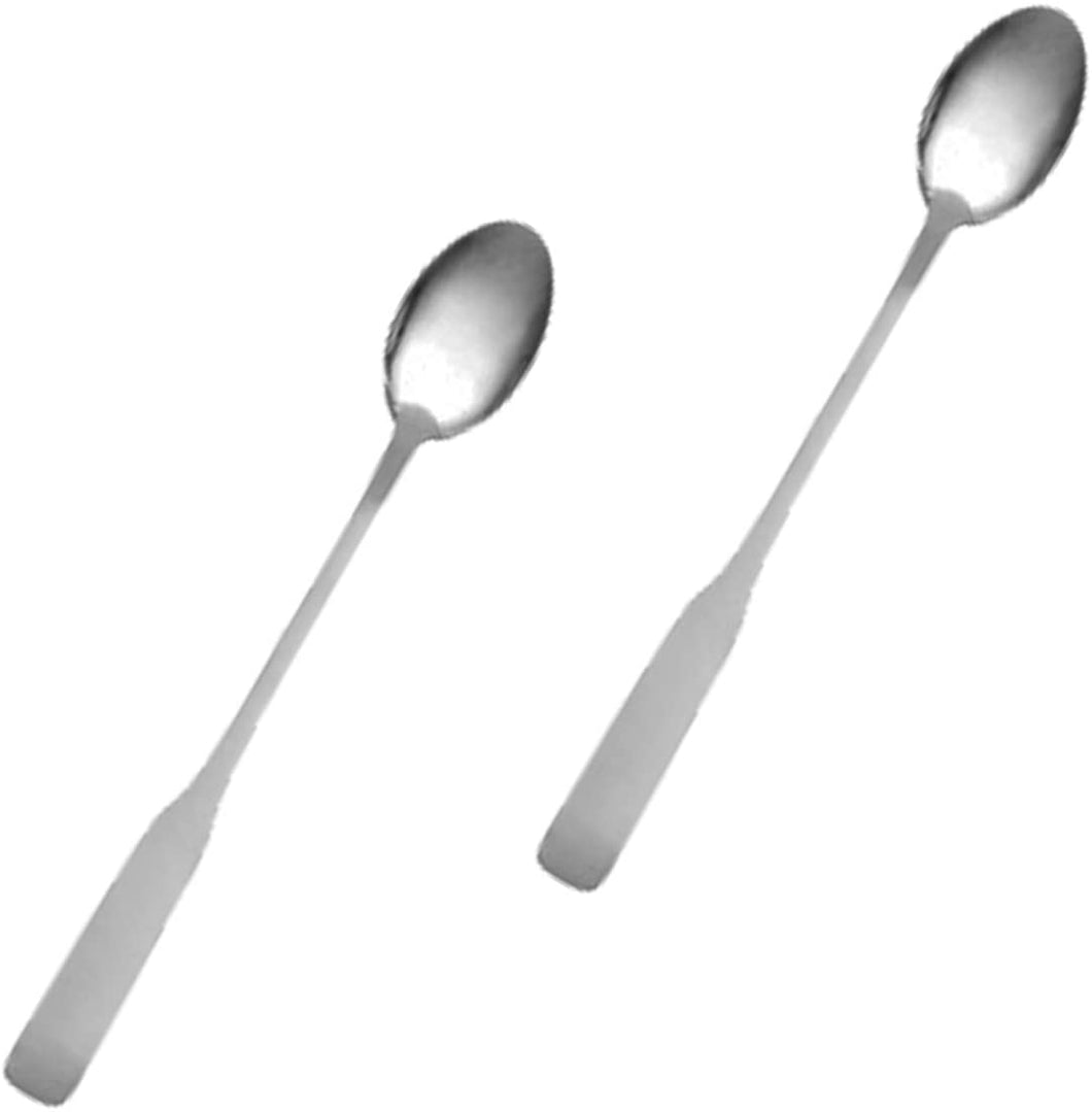 Stainless Steel Heavy Weight Polished Iced Tea Spoon Flatware Set 'Esquire' for (2)