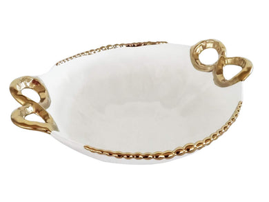 Royalty Porcelain Salad Bowl, Baking Dish White Plate with Handles (Gold)