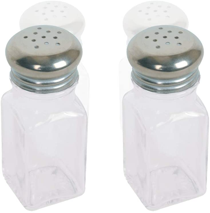 Salt and Pepper Shakers Glass 2 Oz, Modern Style Kitchen Utensil, Metal Cap 2 Pc
