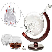 'Ship' Liquor Decanter 50oz Set, Wooden Stand, 2 Globe Glasses and Bar Funnel