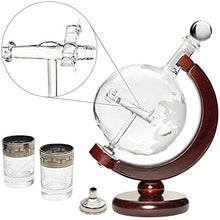 50 Oz Handmade Liquor Etched Globe Decanter Set with Wooden Stand, 2 Glasses
