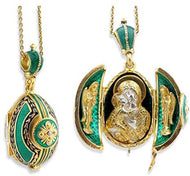 (D) Religious Gifts Enamel Silver Faberge Style Egg Gold Plated Angels Green