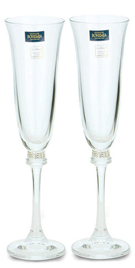 Italian Collection Crystal Champagne Stem Glasses 2pc, Silver Swarovski (Silver)