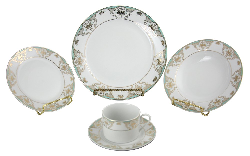 (D) Royalty Porcelain Floral Pattern Turquoise and Gold 40-pc Dinnerware Set