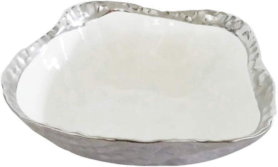 Royalty Porcelain Salad Bowl, Pasta Serving Dish White with Silver Rim
