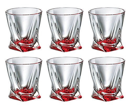 Crystalex Bohemia Quadro Red Colored Tumblers, 11 Oz Bohemian Crystal Glass