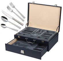 Italian Collection 'Clara Platinum' 72pc Flatware Set with Case Service for 12