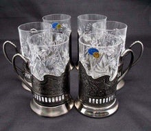 Combination 6 Russian CUT Crystal Drinking Tea Glasses W/metal Glass Holders
