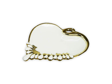 Royalty Porcelain Salad Bowl, Serving Dish White Plate Gold Rim 'Heart' (Small)