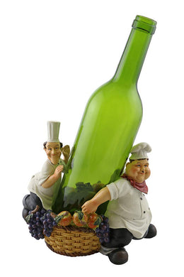 (D) Wine Bottle Holder Laurel and Hardy with Grapes, Bar Counter Decoration
