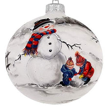 "(D) Handpainted Landscape 'Snowman' 4"" Ornament, Christmas Tree Decoration"
