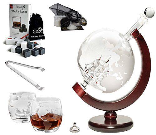 Large 50 Oz 'Ship' Handmade Whisky Liquor Etched Globe Decanter Mega Set