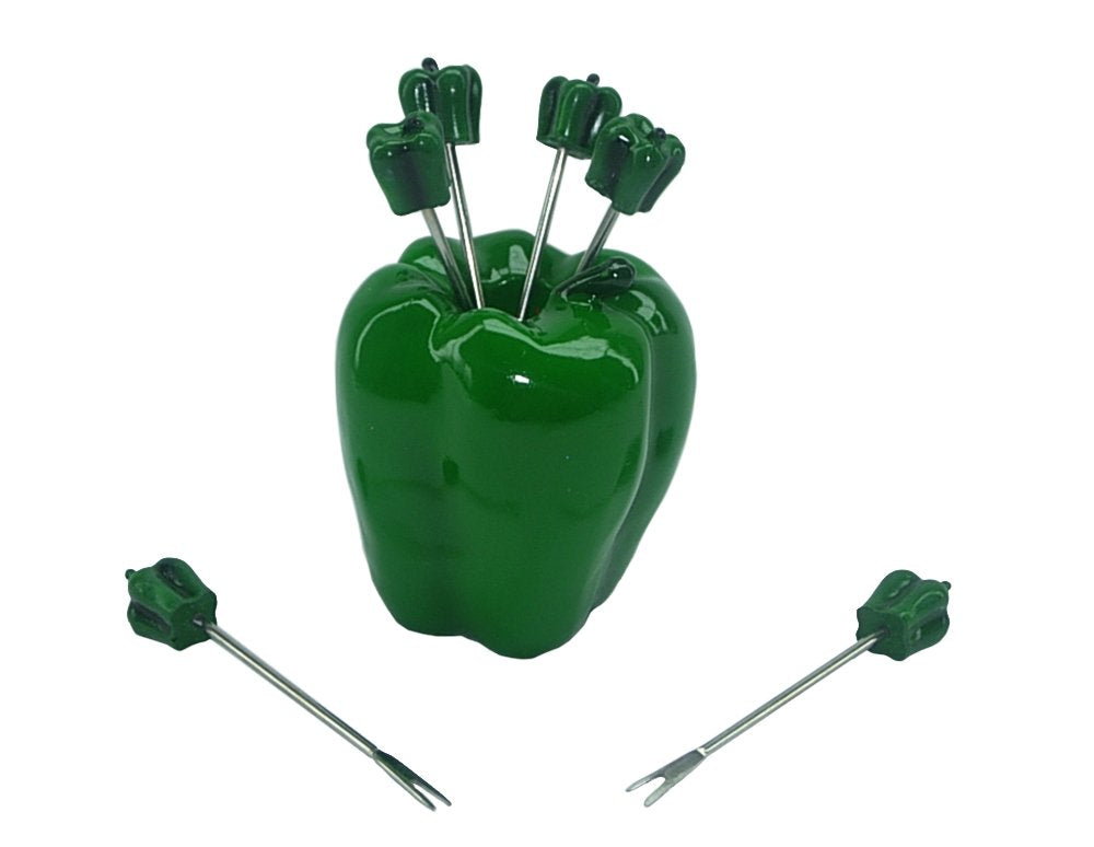 (D) 7-pc Cute Fruit Picks Set Green Pepper for Home Party Decoration and Tableware