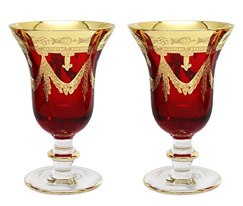 Interglass Italy Set of 2 Crystal Glasses, 24K Gold-Plated (Wine Goblets, Red)