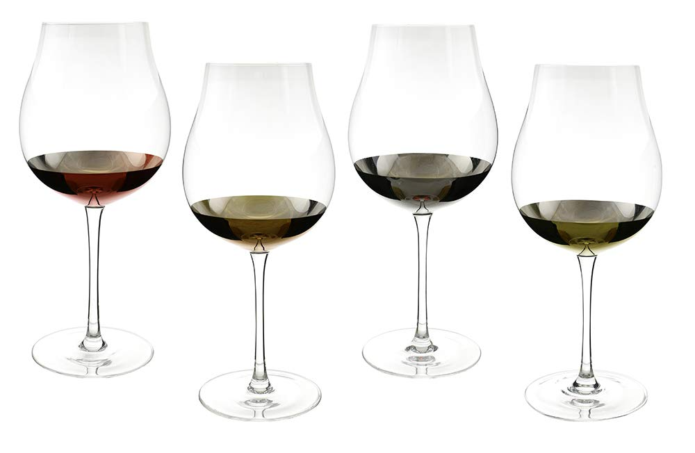 (D) Crystal Tulip Shape Wine Glasses with 4-pc Set, Modern Style Glassware