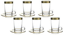 (D) Set of 6 Tea Glasses, 24K Gold Rim, Vintage Floral Pattern