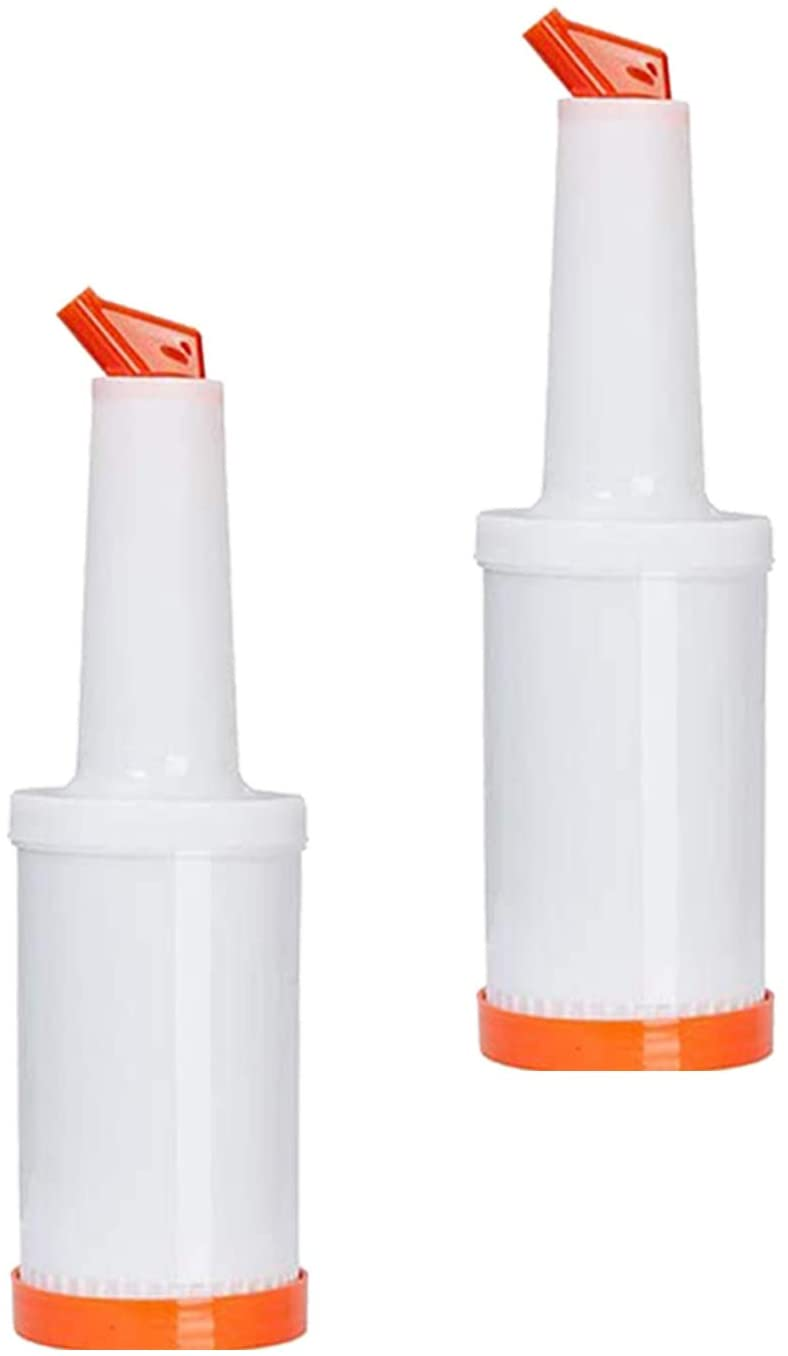 Storer and Pourer Dispenser, Pourers for Alcohol or Juice 1 QT, Barware (2 PC, Orange)