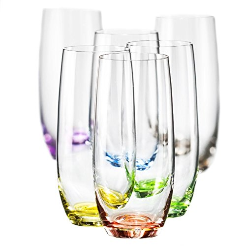 Bohemia Collection Rainbow Set of 6 Beverage Highball Colored Glasses, 12oz