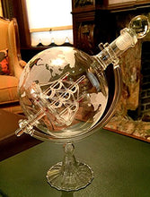 Large 35 Oz 'Ship' Handmade Whiskey Liquor Etched Globe Decanter Mega Set