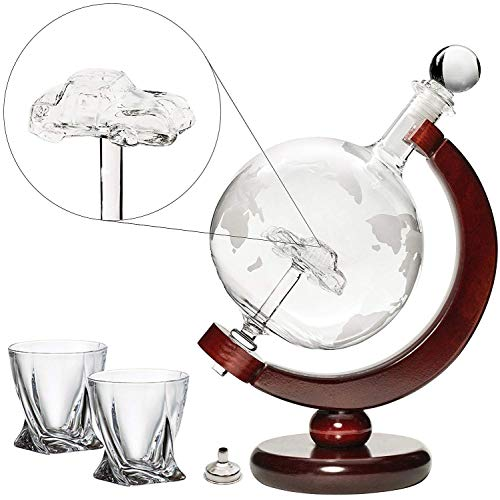 Car Liquor Decanter 50 Oz Set with Wooden Stand 2 Diamond Glasses and Bar Funnel