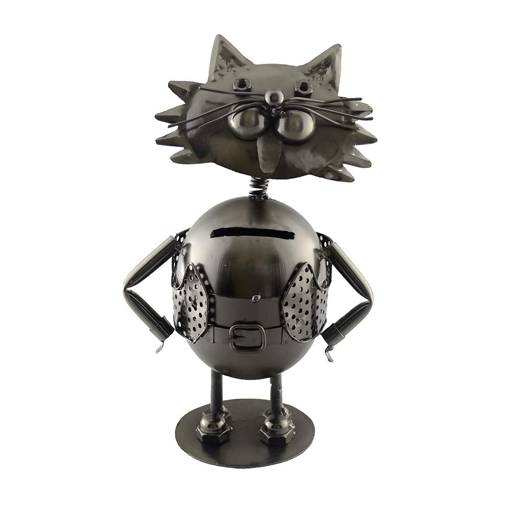 (D) Metal Cat Piggy-Bank Industrial Style 10 x 6 Inches