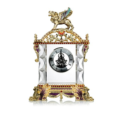 RORO Wedding Gift, Enameled and Jeweled Bohemia Crystal King Supreme Clock