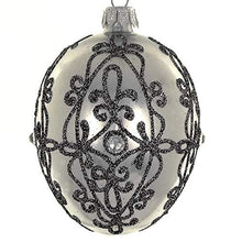 (D) Graphite 4-pc Egg Holiday Ornament Set, Christmas Tree Decoration