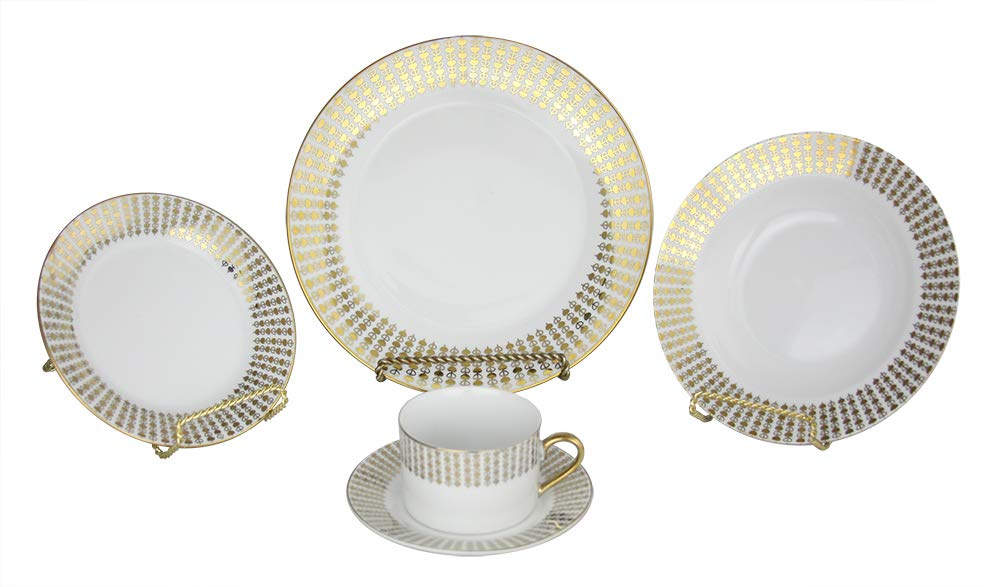 (D) Royalty Porcelain Fancy White with Gold Hearts Dinnerware Set 40-pc for Valentines Love Day