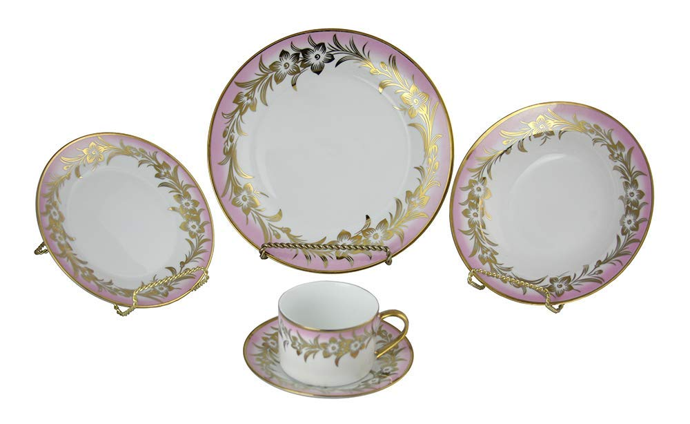 (D) Royalty Porcelain Pink and Gold Flowers Dinnerware Set 40-pc for Banquet