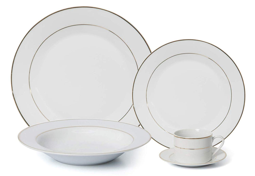 Royalty Porcelain Classic Gold Rim 20-pc 'Wedding Band' Dinner Set for 4, Premium Bone China