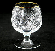 SET of 6 Russian Cut Crystal Cognac Whiskey Stemmed Snifter Goblet Glass 5 Oz
