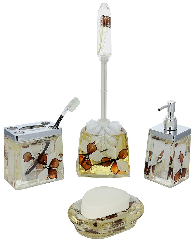 (D) 5-piece Bathroom Set Brown and White Flowers with Soap Dispenser (White)