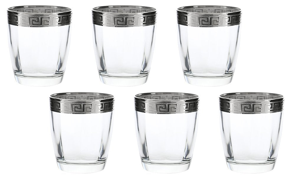 (D) Set of 6 Old-Fashioned DOF Tumblers, Vintage SIlver Greek Key Pattern