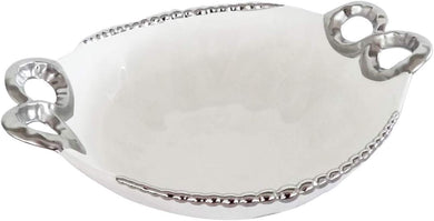 Royalty Porcelain Salad Bowl, Baking Dish White Plate with Handles (Silver)