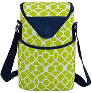 (D) Two Bottle Cooler Tote, Picnic Bag for Outdoor, Wine Carrier (Trellis Green)