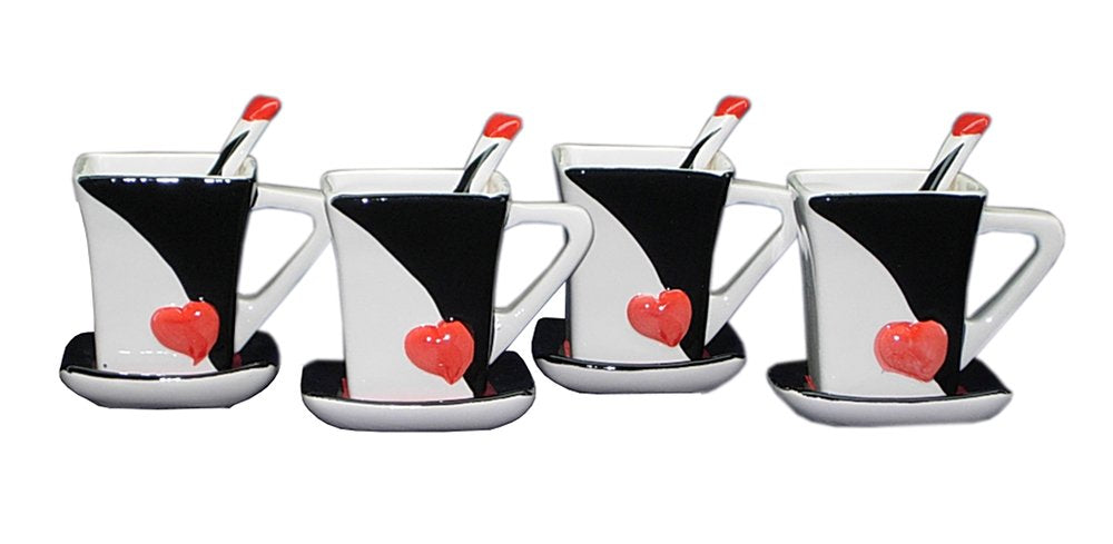 Royalty Porcelain 12pc Black and White with Red Heart Cup and Saucer Set