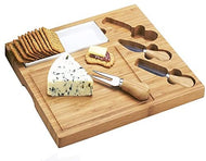 (D) Bamboo Square Cheese Board, Wooden Board with Service Utensils and Dish
