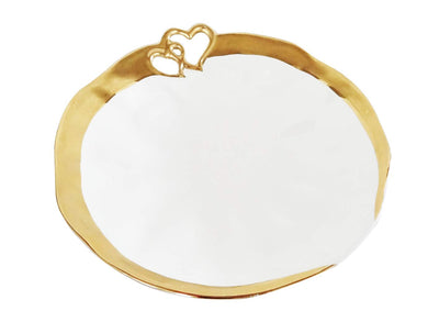 Royalty Porcelain Salad Bowl, Serving Dish 'Hearts' white Plate with Gold Rim