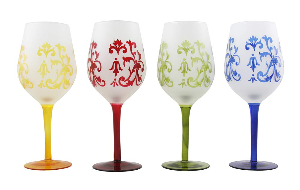 (D) Multicolored Wine Stem Glasses with Floral Decoration 4-pc Set, Glassware