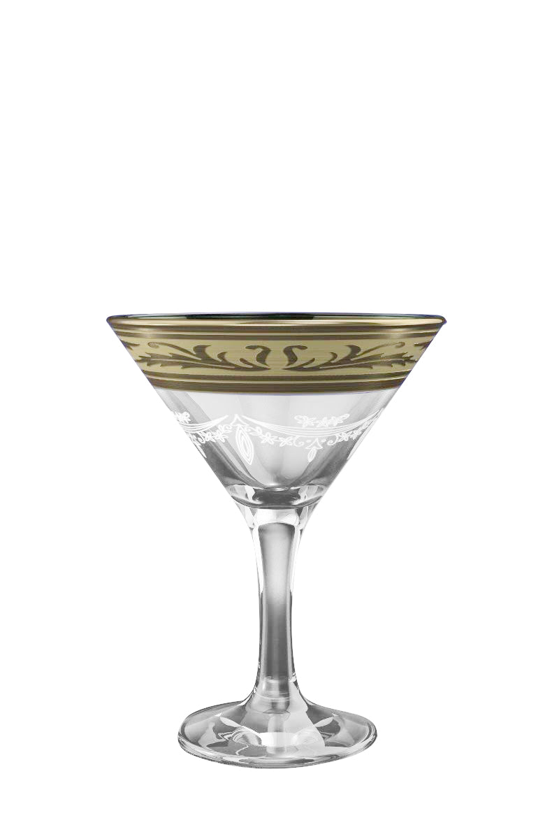 Crystal Goose, 5.7 oz Cocktail Martini Glasses with Platinum-Plated Rim, 6 Pc