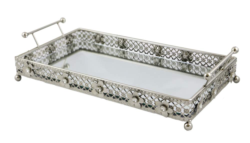 (D) Square Mirrored Tray on Base with Floral Decor 17x6 Inches