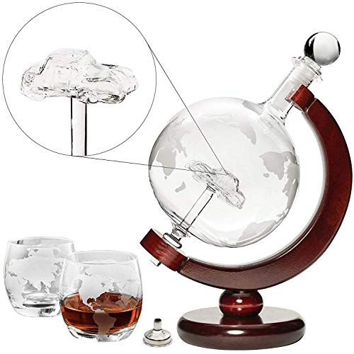 Car Liquor Decanter 50 Oz Set with Wooden Stand, 2 Globe Glasses and Bar Funnel