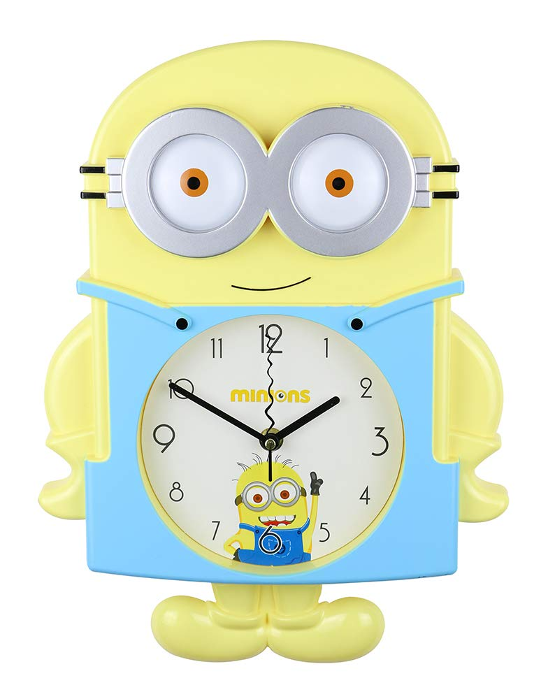 (D) Yellow Minion Wall Clock 14x12 for Kids Room