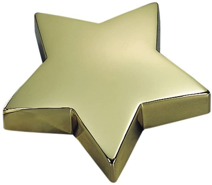 (D) Bright Paperweight In Brass Plate Star, Gifts for Office Colleagues (Gold)